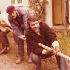 The tug of war with Tony Young (artist) George Kolankiewicz (university lecturer) and Kevin O'Malley (university lecturer) | Pat Marsden 1974