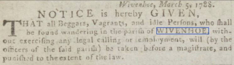 No Beggars, Vagrants or Idle Persons 1788 | Chelmsford Chronicle, Friday, 21 March 1788 [British Newspaper Archive]