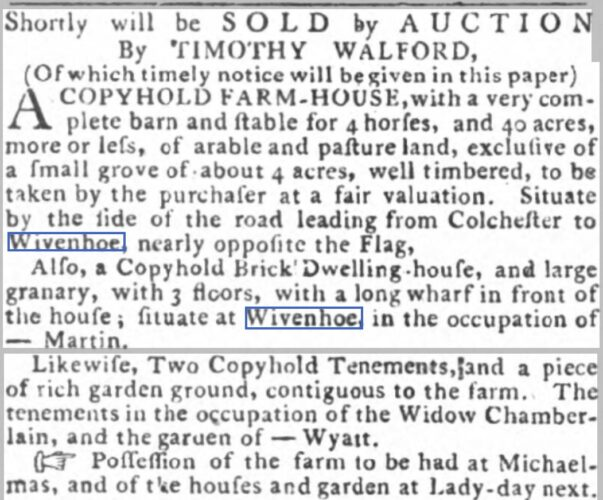 Farm, nearly Opposite the Flag, and Other Property to be Sold 1795 | The Ipswich Journal, Saturday, 30 May 1795 [British Newspaper Archive]