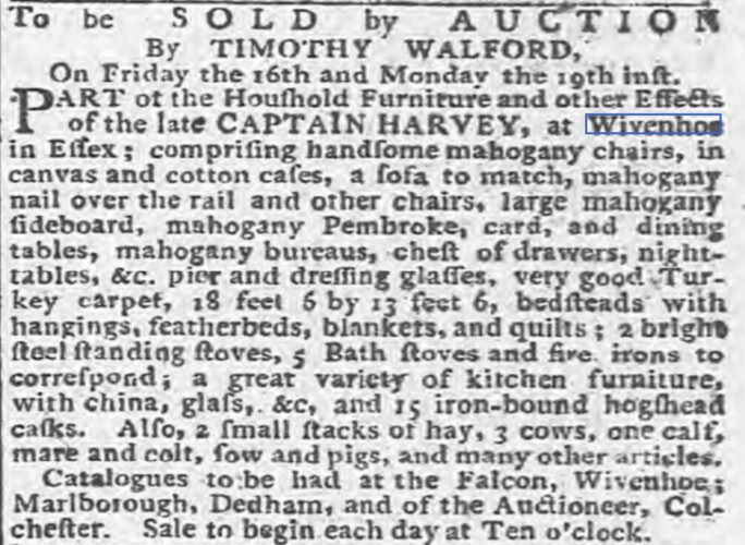 Part Sale of Effects of the Late Captain [Daniel] Harvey 1795 | Ipswich Journal, Saturday 10 January 1795 [British Newspaper Archive]