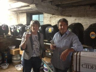 Barbara Connelly and Steve Sakel in the beer cellar of The Black Buoy