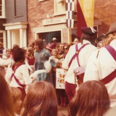 Morris Dancers outside the Nottage on the Quay | Pat a Marsden 1974