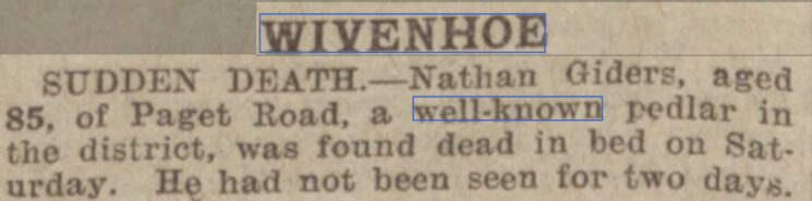 Death of Nathan Giders, Well Known Pedlar of Paget Road 1933 | Essex Newsman, Saturday, 30 December 1933 [British Newspaper Archive]