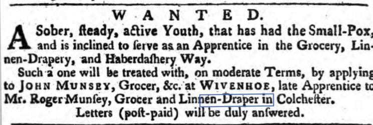 John Munsey, Grocer, Linen Draper, Haberdasher 1762 | The Ipswich Journal, Saturday, 13 November 1762 [British Newspaper Archive]
