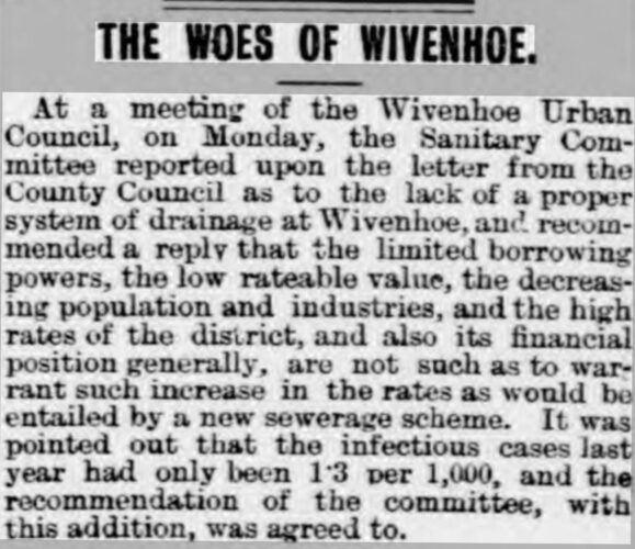 The Woes of Wivenhoe 1908 | Chelmsford Chronicle 14 February 1908