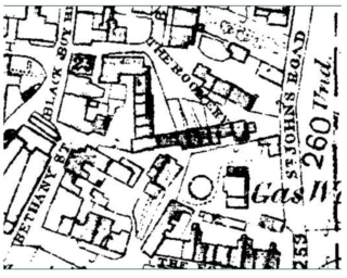 Map of the area by The Black Boy pub (as it was then called) and showing the location of The Rookery. The Sun pub was somewhere close by.