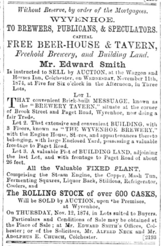 Auction of The Brewey Tavern and the Wyvenhoe Brewery in 1874 | The Essex Standard