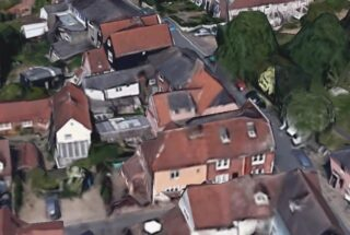 Aerial view of the building which was The Red Lion | image from Google Earth