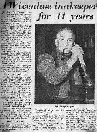 George Hillyard's retirement in 1955 was recorded by the Essex County Standard | Essex County Standard newspaper in 1955