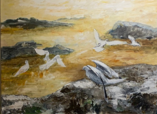 Seagulls, a painting by Gail Cross | Photographed by Daisy Giddings
