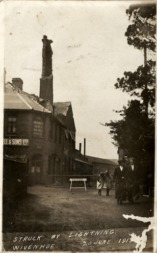The shipyard chimney was struck by lightning on 20th June 1913 causing much damage to The Shipwrights