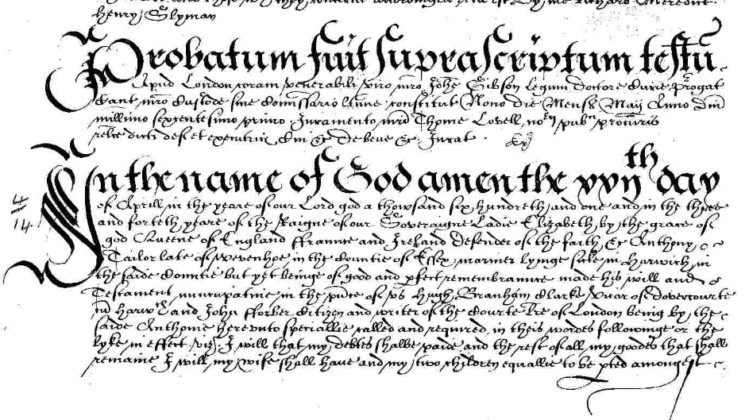A section of the Will of Alan Taylor, a mariner who died around 1600. | National Archives