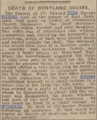 Death Notice of Dr Edward John Havens | Chelmsford Chronicle, Friday, 16 November 1917 [British Newspaper Archive]