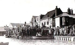 Crowds on The Quay outside The Rose and Crown | Photo: Wivenhoe Memories Collection