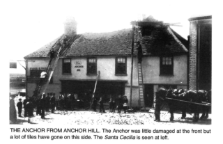 The Anchor Inn showing the damage from the earthquake on the Anchor Hill side | Photo copied from Peter Kay's book about The Earthquake