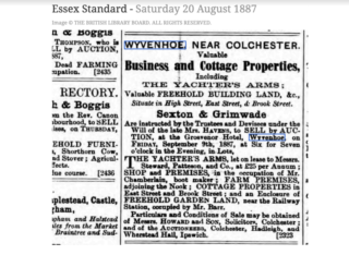 Advertisement of the auction for The Yachters Arms. | Essex Standard 20th August 1887