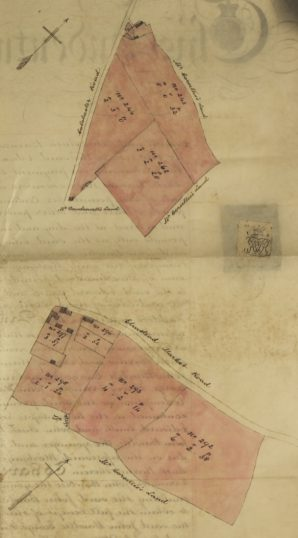 Parcels 243, 244, 262 (upper plan) and 293, 294, 295, 296, 297 (lower plan) attached to the deed of 1.11.1864 referring to the transfer of a mortgage debt between Edward Smith and J S Barnes and John Bawtree, George Henry Errington, John Bawtree the younger and Jeremiah Haddock Essex Record Office D/DU 225/15 | Essex Record Office D/DU 225/15