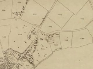 Extract from 1838 Tithe Award Map of Wivenhoe showing Parcels 292-298 of the Wivenhoe House Estate running east of the High Street and south of what is now Bellevue Road. | Essex Record Office D/CT 406B