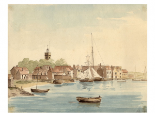 Water colour by an army officer about 1810 showing two Revenue cutters moored in front of the Customs warehouse | The Nottage