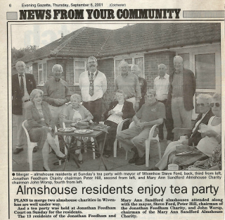 Tea party at Jonathan Feedham Court with special guest Town Mayor Steve Ford. LtoR - standing: Cllr Bob Richardson, Cllr Peter Hill, Cllr Steve Ford, John Worsp, Mrs Jan Richardson, Tony Forsgate, Michael Siggs. LtoR - seated: Erica Siggs, unknown, Ellen Barnes, Michael Mason, Daphne King and Peggy Goodwin. | Gazette Newspaper - 6th September 2001