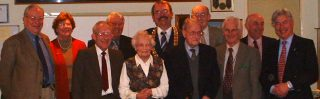 Some of the people at the party held in February 2002 to celebrate the creation of the new Wivenhoe Housing Trust. LtoR: Michael Siggs, Anne Horner, Jeff Whaley, Charles Scofield, Mrs Leslie Kemble, Cllr Steve Ford, Wivenhoe Town Mayor, Leslie Kemble, Cllr Bob Richardson, Don Hirst, Tony Forsgate and Cllr Peter Hill, the new Chairman of the Wivenhoe Housing Trust.