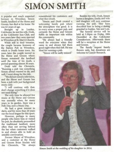 Simon Smith's Obituary | Copied from the B'sea & Wivenhoe Chronicle - Decemmbr 2018