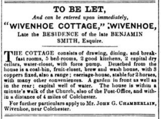 Sale notice for Wivenhoe Cottage (believed to be situated on parcel 313 of the 1838 Tithe Award Map) | Essex Standard 22 March 1854 [British Newspaper Archive]
