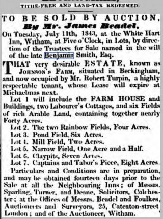 Sales details of Johnson's Farm in Beckingham to be sold by direction of the late Benjamin Smith | Essex Herald Tuesday 20th June 1843 [British Newspaper Archive]