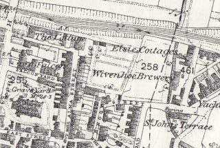 What remains of the site of 'The Cottage' (top left) on the present day Alma Street as indicated on the 1876 Ordnance Survey Map after the building of the railway | 1876 Ordnance Survey 'First Edition': Wivenhoe, Elmstead .& Ardleigh Parishes (1:2500, twenty-five inches to one Mile)