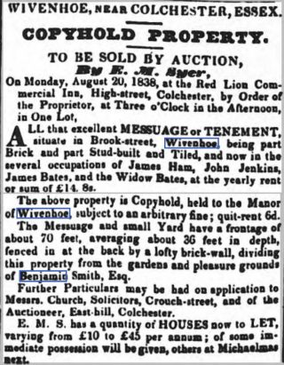Benjamin Smith's Will 15 July 1840 | Chelmsford Chronicle Friday 10 August 1838 [British Newspaper Archive]