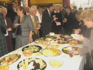 Guests enjoying a buffet in the William Loveless Hall put on by the Council   Peter Hill
