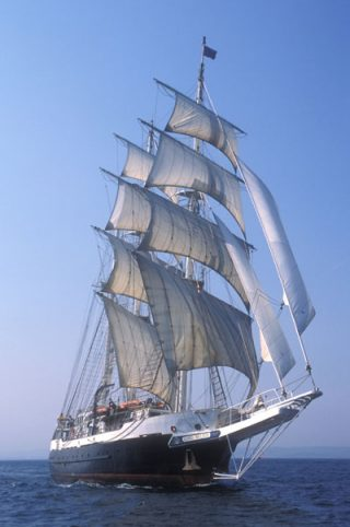 The STS Lord Nelson under sail | Source: Copied from the Sail Training International website