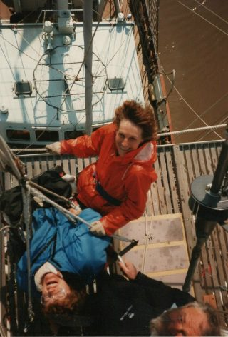 Jan Sinclair aloft on the STS Lord Nelson in 1991 | Photograph owned by Jan Sinclair