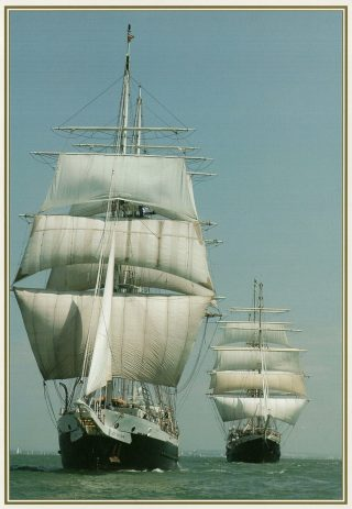 STS Lord Nelson sailing with STS Tenacious | From a JST Christmas Card designed by Acorn Designs. Photograph by Alison Dickie