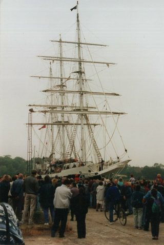 Crowds come down to see the STS Lord Nelson when she visits Wivenhoe in 1998 | Brian Sinclair