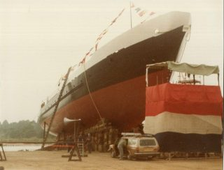 STS Lord Nelson almost ready for launching on 15th October 1985 | Brian Sinclair
