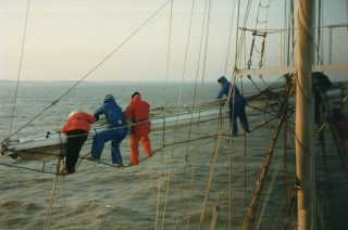 Securing the sails on the STS Lord Nelson in 1991 | Jan Sinclair
