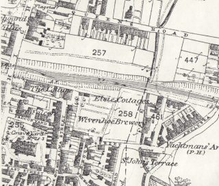 Showing the approximate siting of the former Undersett to the Cross Keys Tavern running down east of the High Street and south of Queens Road towards the Falcon and the north side of East Street | 1876 Ordnance Survey 'First Edition': Wivenhoe, Elmstead & Ardleigh Parishes (1:2500) 25 inches to the mile