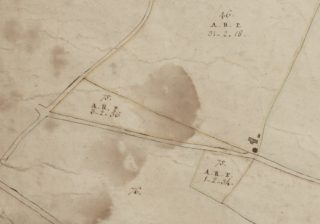 Extract from 1799 Survey Map showing the two Parcels marked 75 (new inclusures on Whitmore Heath) | Essex Record Office A13644 Box 1