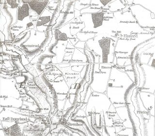 """Extract from the Chapman and Andre Map of 1777 showing Whitmore Heath to the north of the parish above the Colchester to Elmstead Road. There is only one building shown on the north west corner of West Street and the High Street which might possibly be a candidate for Old House. 
