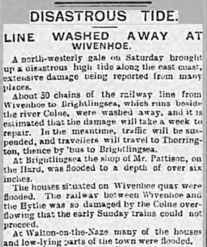 Line Washed Away at Wivenhoe 27.11.1903 | British Newspaper Archive