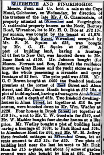 Sale of Property in Wivenhoe 1 March 1894 | British Newspaper Archive