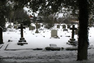 New Cemetery from Belle Vue Rd.  February 2021.   Frances Belsham