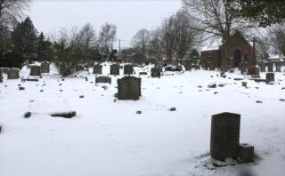 New Cemetery viewed from Belle Vue Rd.  February 2021.   Frances Belsham