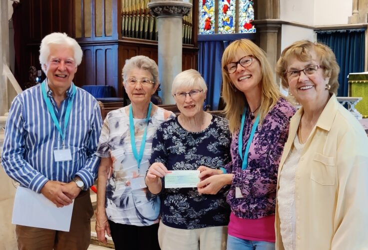LtoR: Peter Hill (Chairman, Wivenhoe Dementia Support Group); Pat Green (Treasurer, Wivenhoe Over 60s) Pam Townrow (Chairlady, Wivenhoe Over 60s); Michelle Burrows (Deputy Chairman, Wivenhoe Dementia Support Group) and Doreen Everitt (Secretary, Wivenhoe Over 60s).     | Photo by Linda Panton