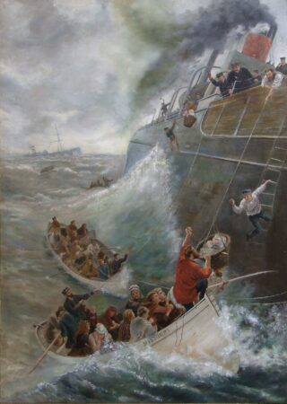 A Painting of the rescue in mid-Atlantic of 735 passengers & crew of the SS Danmark in 1889 by Frederick Hamilton Murrell | Painting in 1889 'Every Soul Was Saved' by M M Hemy