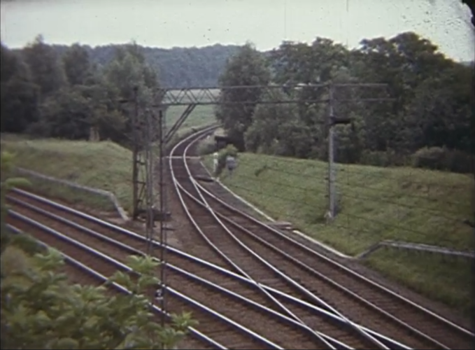 The junction for the Brightlinsea line just outside Wivenhoe   Taken from the BFI film recorded by 'Chib' Thorp in 1963